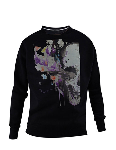 Watercolour Skull Print Sweat Shirt.