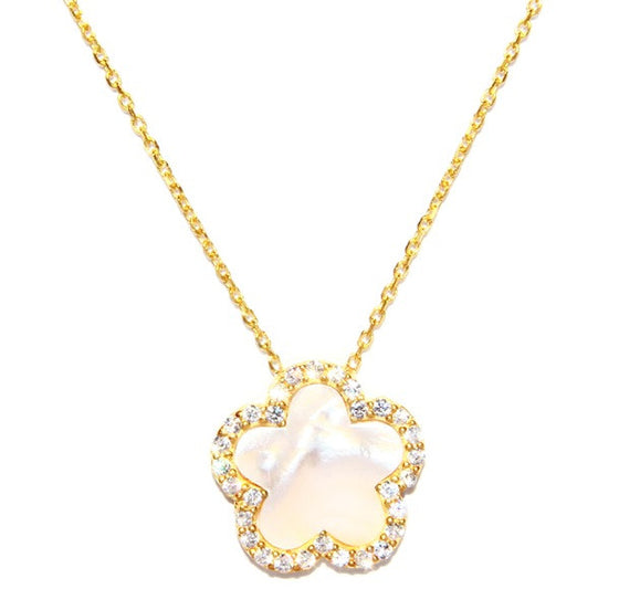 Mother of Pearl Clover Necklace Gold
