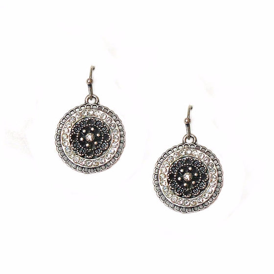 Crystal Disc Earrings Antique Silver