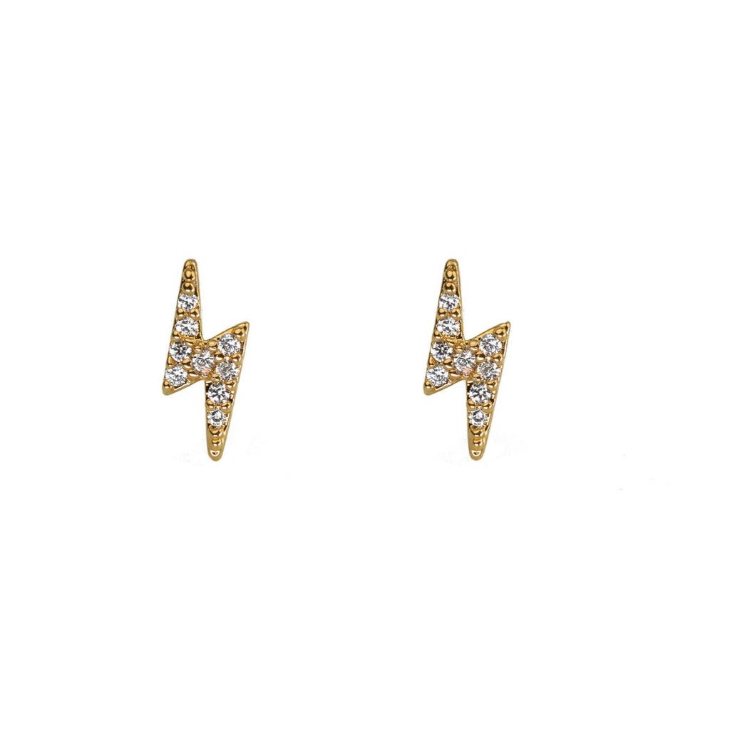 Mini CZ Lightning Bolt Studs Gold