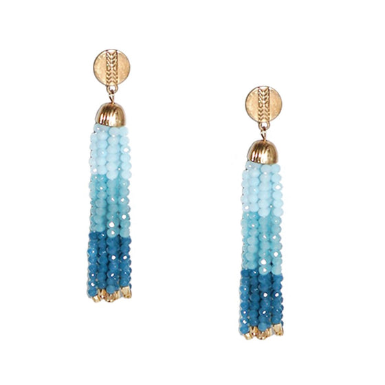 Beaded Tassel Earring Turq Combo