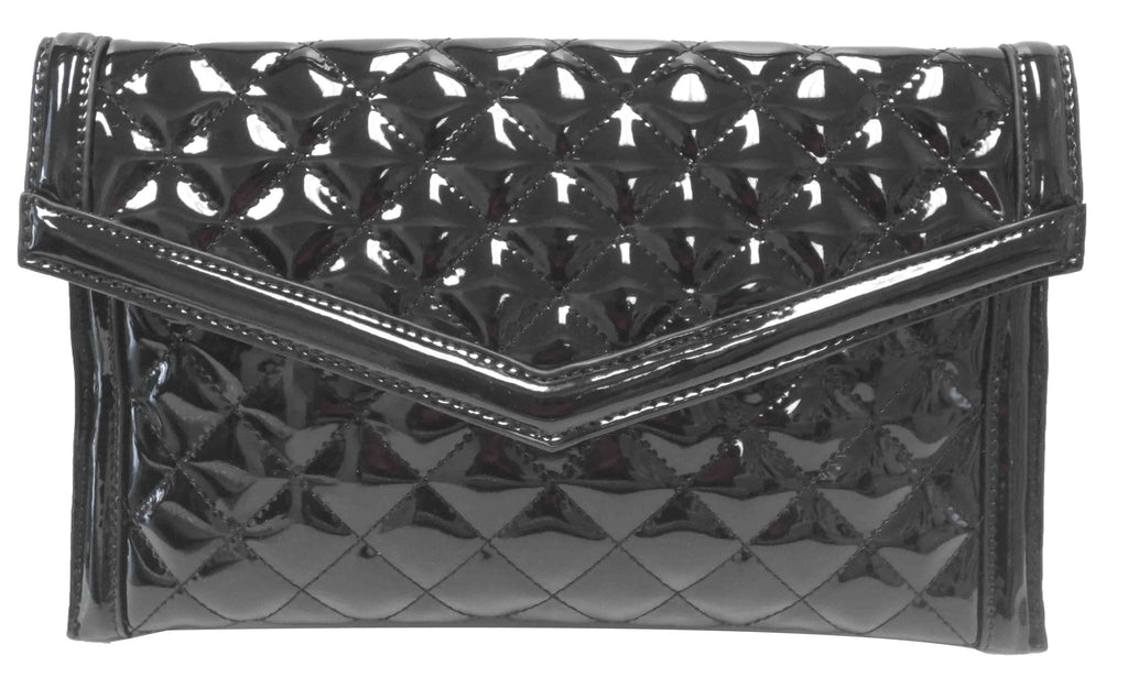 Quilted Patent Clutch Black