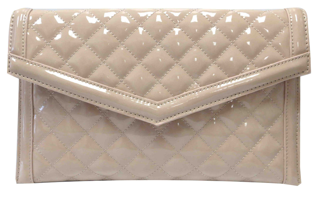 Quilted Patent Clutch Natural