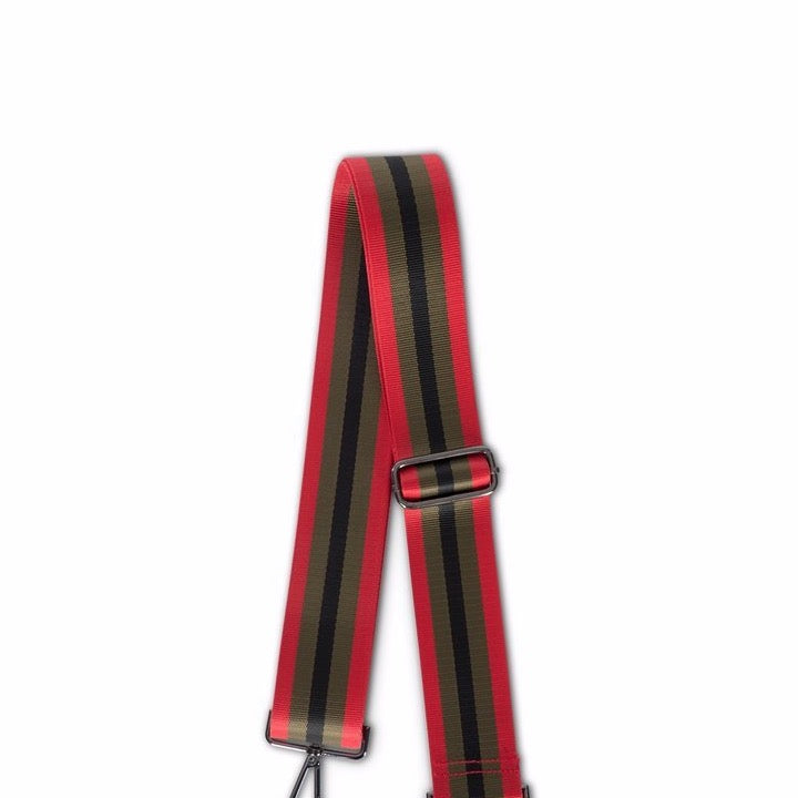 Handbag Strap Red Olive & Black Stripe