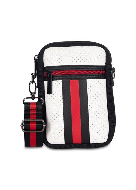 Casey Neoprene Crossbody White with Black & Red Stripe