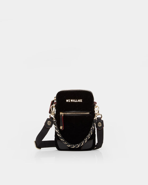 MZ Wallace Micro Phone Crossbody Black Velvet