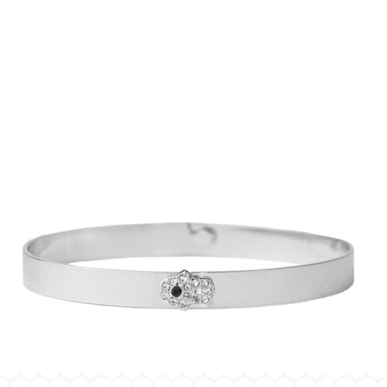 Pave Hamsa Bangle Silver