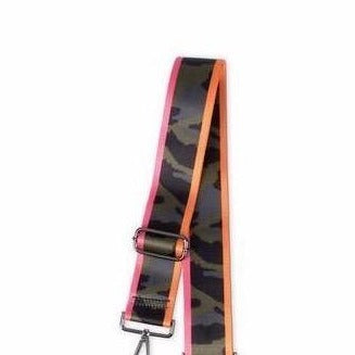 Handbag Strap Green Camo Pink & Orange Stripe