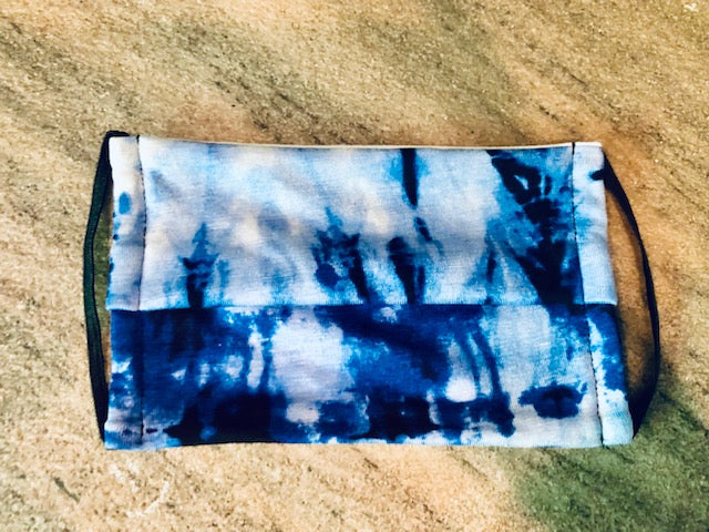 Face Cover Mask Blue Tie Dye