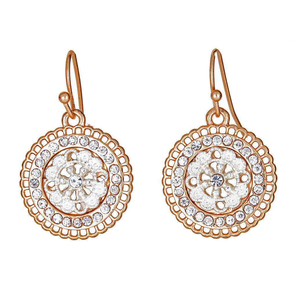 Crystal Disc Earrings Gold & Silver