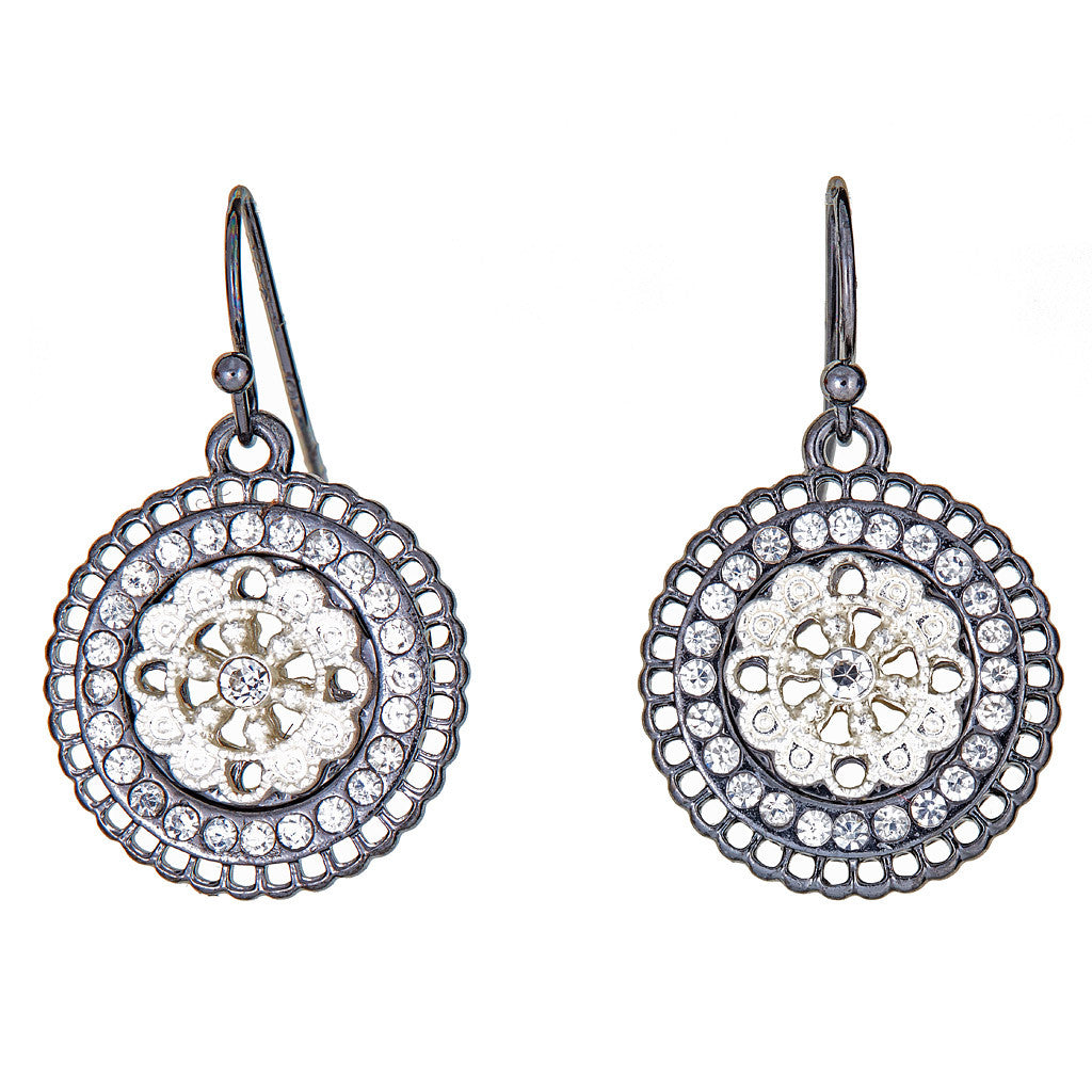Crystal Disc Earrings Gunmetal & Silver