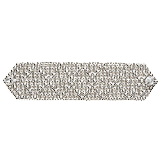 Silver Mesh Liquid Metal Bracelet Wide