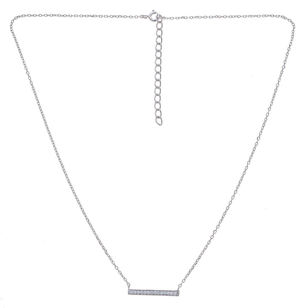 CZ Bar Necklace Silver