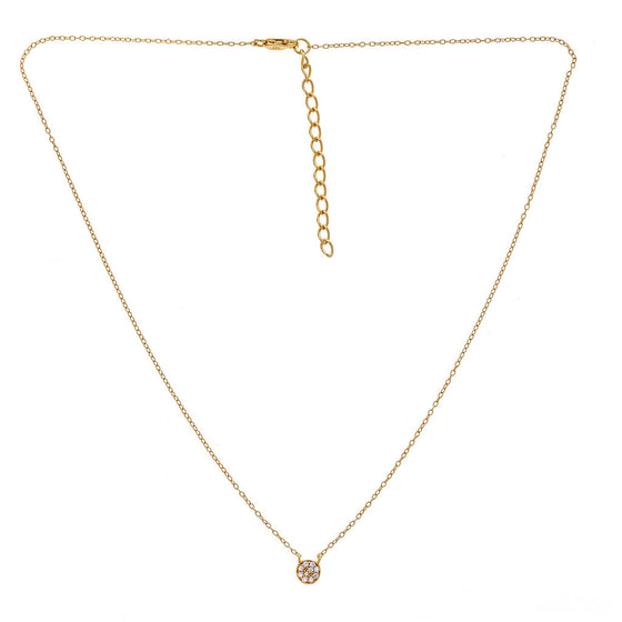 Mini CZ Disc Necklace Gold