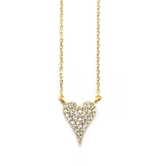 Pave Small Heart Necklace Gold