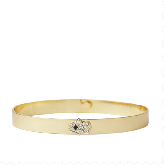Pave Hamsa Bangle Gold