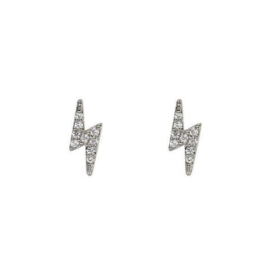 Mini CZ Lightning Bolt Studs Silver