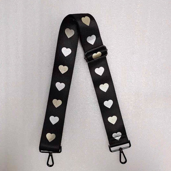 Handbag Strap Black Silver & Rose Hearts