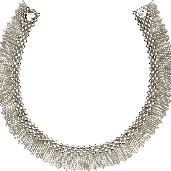 Silver Mesh Liquid Metal Choker Necklace