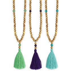 Wood & Stone Tassel Necklace