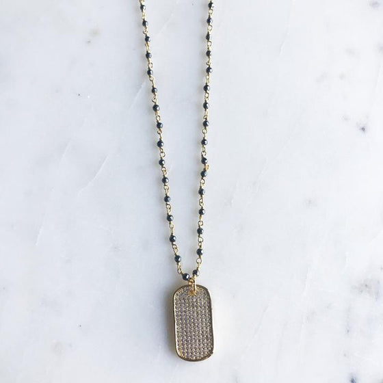 Mini Pave Dog Tag Necklace