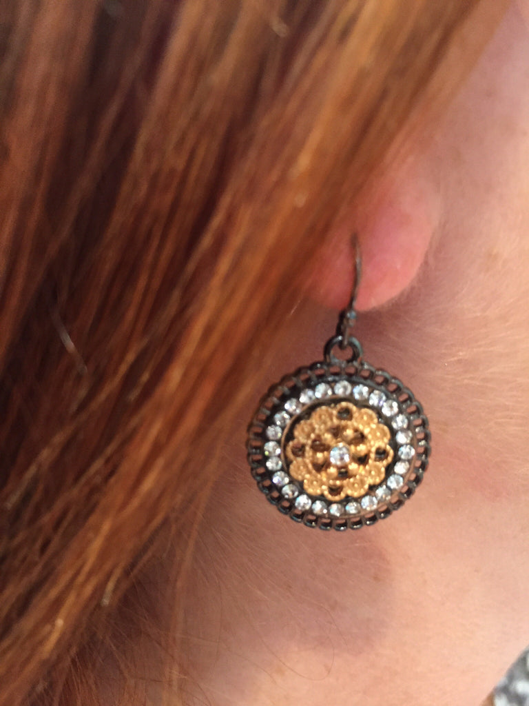 Crystal Disc Earrings Gunmetal & Gold