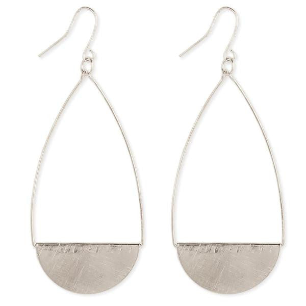 Brushed Teardrop Earring Silver