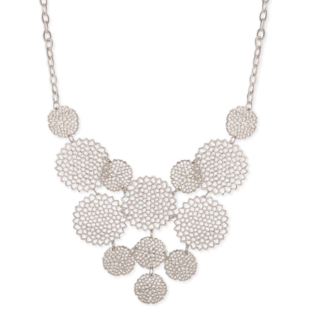 SIlver Circle Statement Necklace