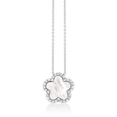 Mother of Pearl Clover Necklace Silver
