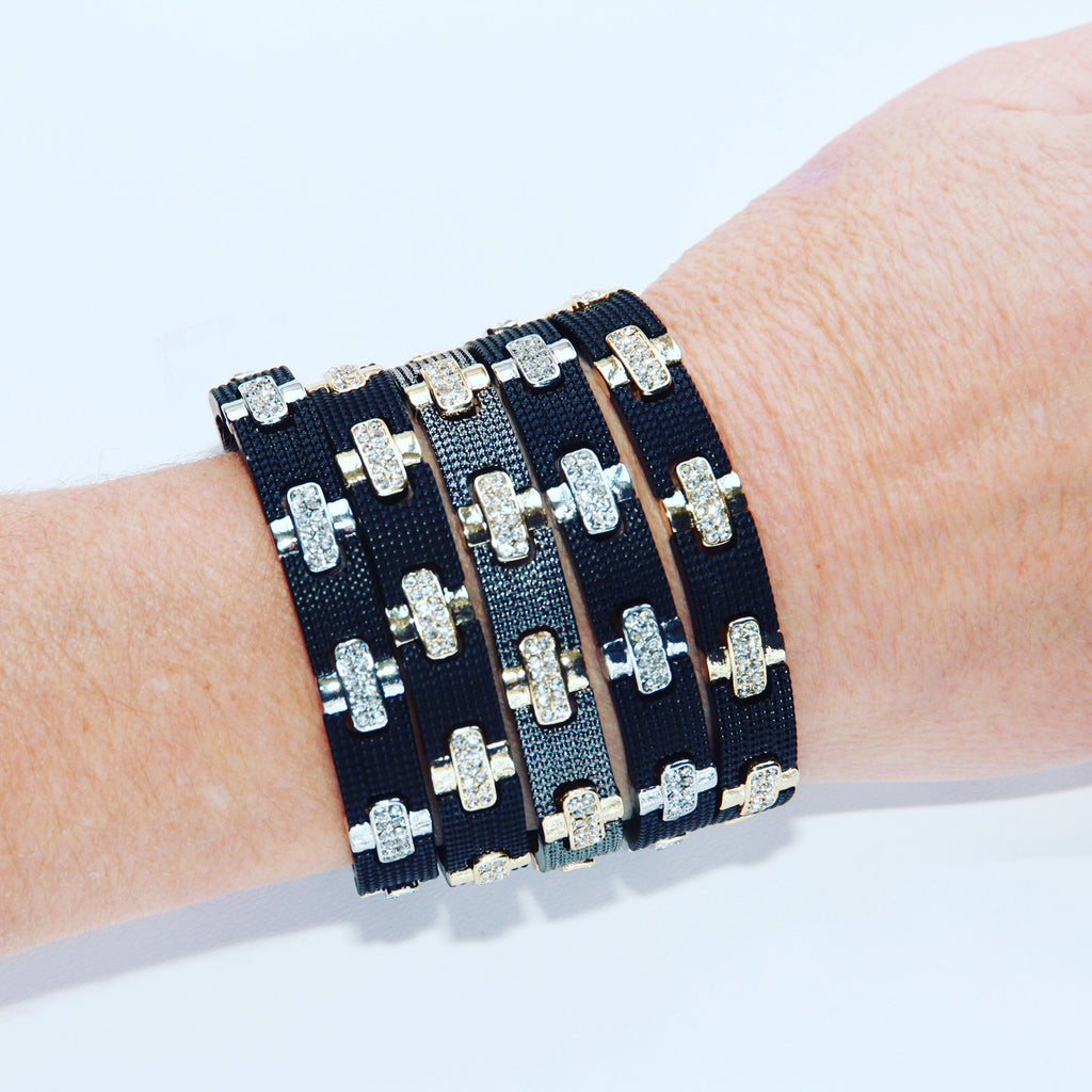 Stretch Bracelet Gunmetal & Gold