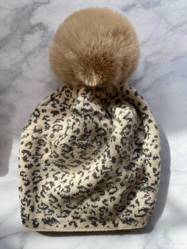 Beanie Hat with Faux Fur Pom Pom Snow Leopard