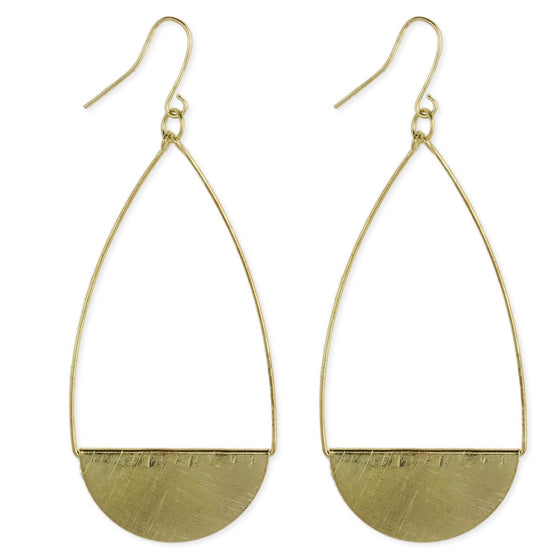 Brushed Teardrop Earring Gold