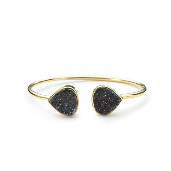 Teardrop Bangle Black Druzy