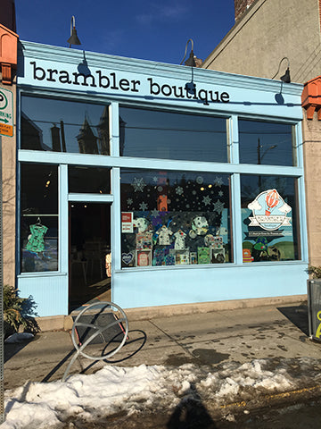 Brambler Boutique Storefront. Light blue and Coral colored.