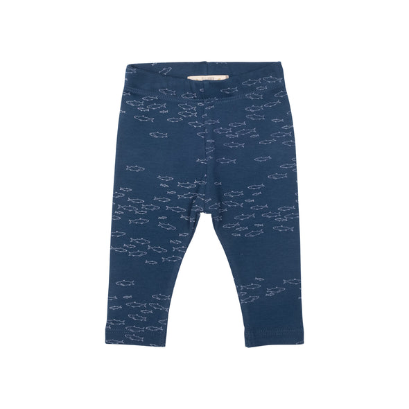 Organic Leggings - Schooling Fish - Poseidon Blue - Brambler Boutique