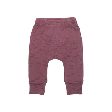 Organic Ribbed Leggings - Schooling Fish - Plum Wine - Brambler Boutique