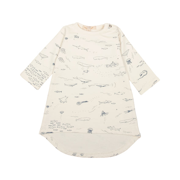 Organic French Terry Baby Dress - The Story - Ivory - Brambler Boutique