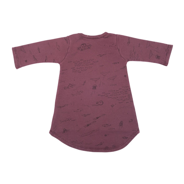 Organic French Terry Baby Dress - The Story - Plum Wine - Brambler Boutique