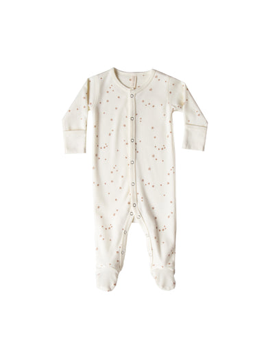 Organic Full Snap Footie - Ivory Stars - Brambler Boutique