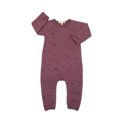 Organic Terry Jumpsuit - The Story - Plum Wine