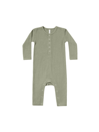 Organic Long Sleeve Ribbed Jumpsuit - Moss