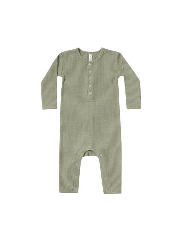 Organic Long Sleeve Ribbed Jumpsuit - Moss - Brambler Boutique