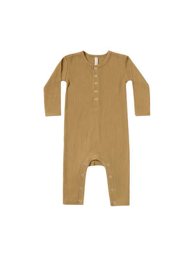 Organic Long Sleeve Ribbed Jumpsuit - Ocre - Brambler Boutique