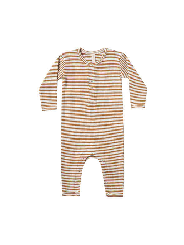Organic Ribbed Jumpsuit - Walnut Striped - Brambler Boutique