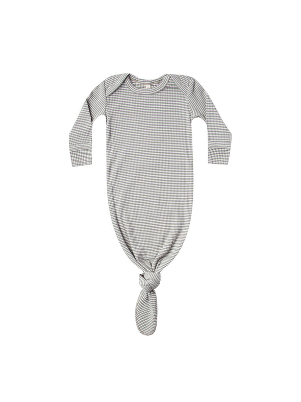 Organic Knotted Baby Gown - Eucalyptus Striped - Brambler Boutique