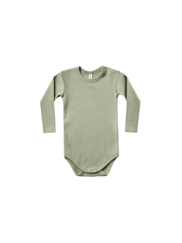 Organic Long Sleeve Ribbed Onesie - Moss - Brambler Boutique
