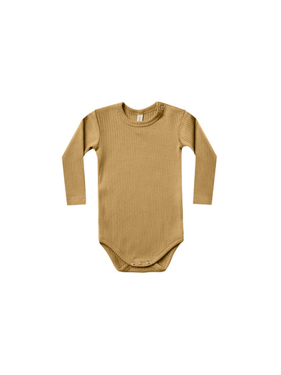 Organic Long Sleeve Ribbed Onesie - Ocre - Brambler Boutique
