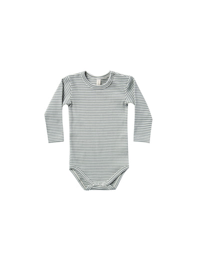 Organic Long Sleeved Onesie - Eucalyptus Striped - Brambler Boutique