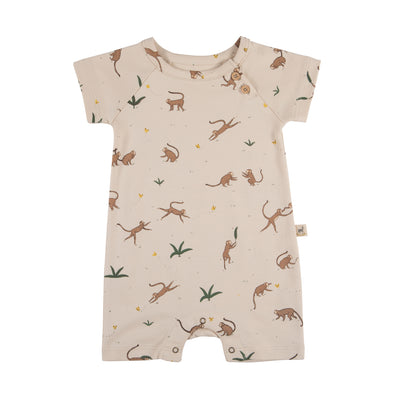 Organic Summer Romper - Playful Monkeys - Brambler Boutique
