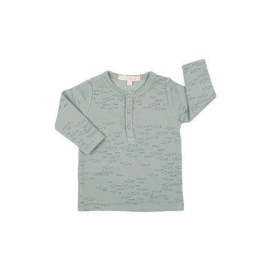 Organic Ribbed Henley Shirt - Schooling Fish - Green - Brambler Boutique